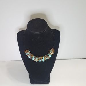 Teal And Brown Rock Chip Chocker Necklace Barrel C